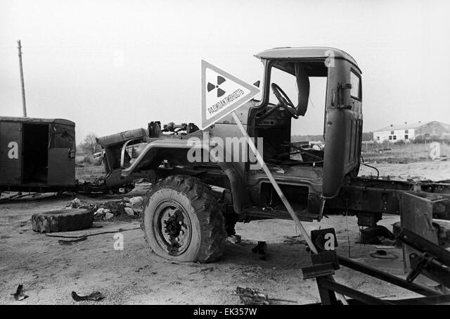 Ukrainian SSR. USSR. Radioactive machinery after the Chernobyl Disaster. - Stock-Bilder