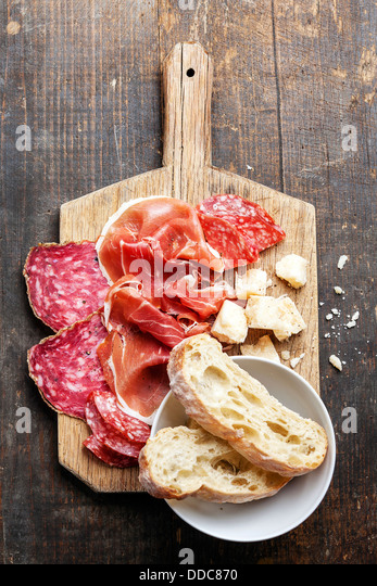 Snack ham, salami and cheese - Stock Image