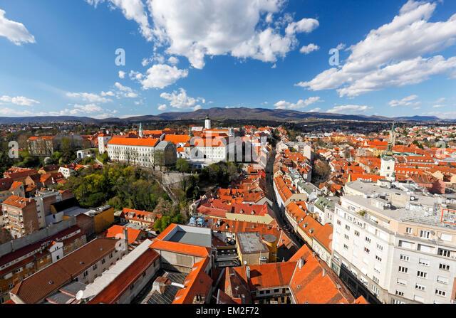Zagreb skyline, View to upper town 'Gradec'. - Stock Image