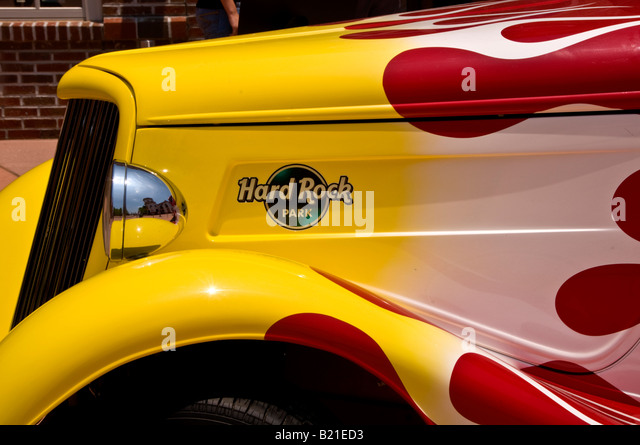 Hard Rock Park logo name Myrtle Beach antique car grill hood South Carolina SC world first rock and roll theme park - Stock Image