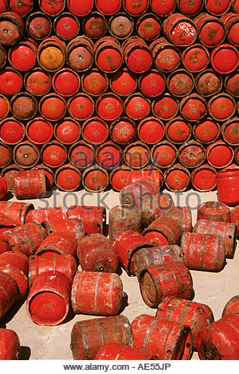 Red gas canisters canister - Stock Image