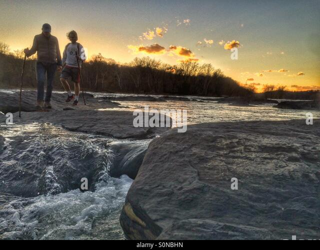 Exploring the Potomac River , Harper's Ferry, West Virginia - Stock Image