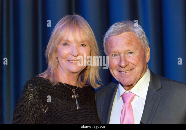 Walsall, West Midlands, UK. 22 March 2015. English Singer Stephanie de Sykes (L) with David Hamilton (R) at a recording - Stock Image
