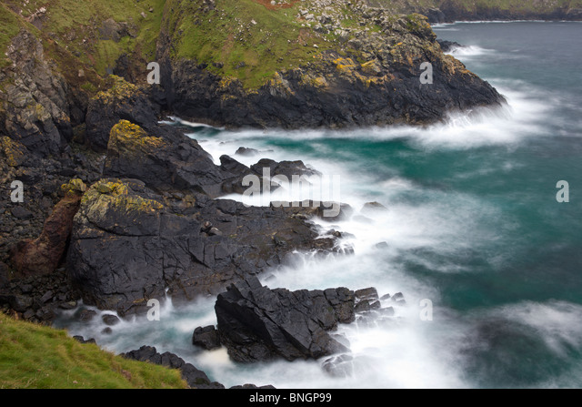 Rugged Atlantic Cornish coast at Botallack near Land's End, Cornwall, England. Autumn (October) 2009 - Stock Image
