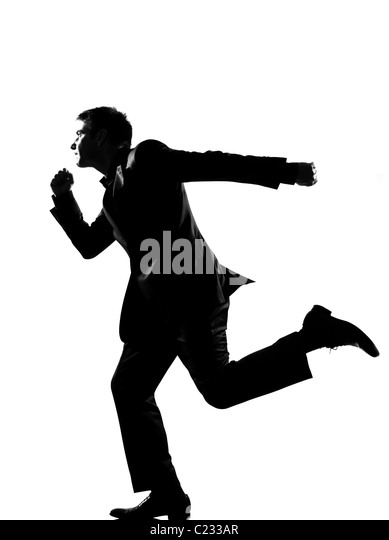 Running Man In Suit Silhouette Running Man Suit Black...