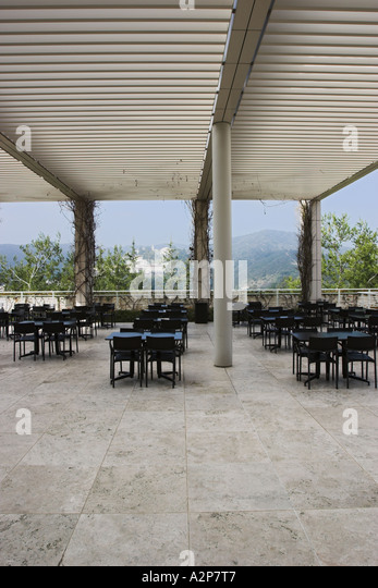 An outdoor patio at the J. Paul Getty Museum in Los Angeles, CA. - Stock Image