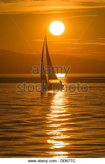 Germany, View of sailing boat in Lake Constance - Stock Image