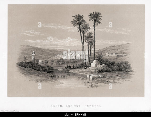 Jenin, ancient Jezreel.  By David Roberts. Lithographs of the Holy Land. - Stock Image