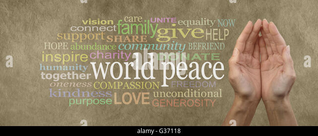 Female cupped hands beside a WORLD PEACE word cloud on a rustic parchment effect background - Stock Image