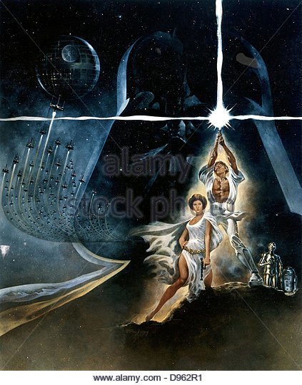 Poster for'Star Wars', 1977 20th Century Fox film. - Stock Image