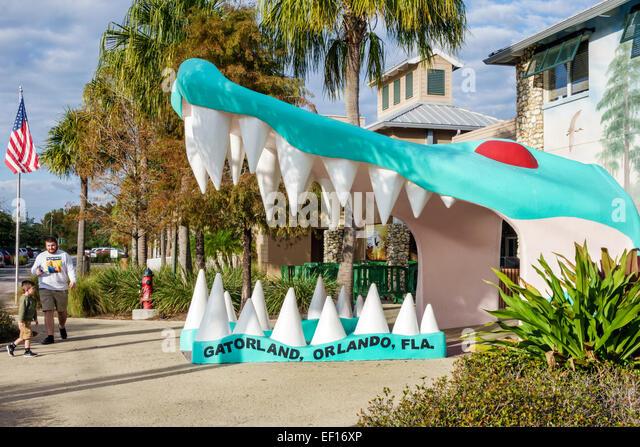 Orlando Florida Gatorland front entrance giant alligator mouth jaw - Stock Image