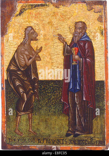 The Holy Communion of Saint Mary of Egypt. Artist: Anonymous - Stock Image