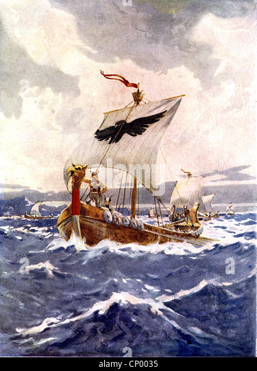 Middle Ages, Vikings, Viking ship, sailing, painting by Arch Webb, historic, historical, ships, boat, sea, - Stock Image