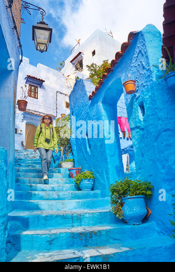 Blue painted walls in old Medina of Chefchaouen, Morocco, Africa - Stock Image