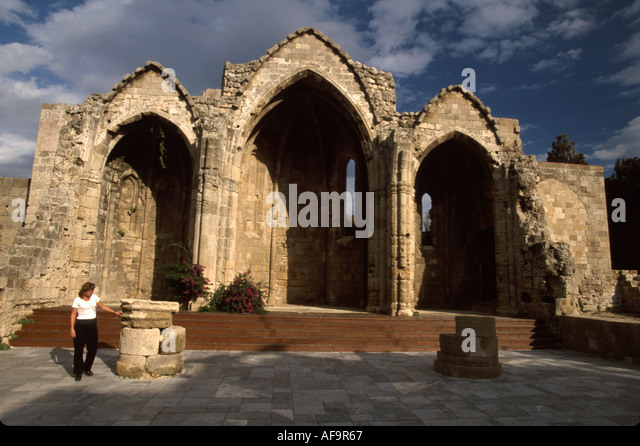 Greece Isle of Rhodes Old Town medieval district Church of the Virgin of the Burgh Fourteenth 14th century ruins - Stock Image
