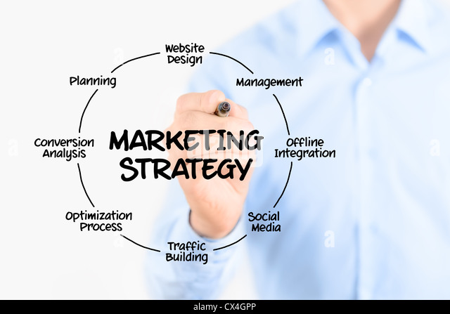 Young businessman drawing marketing strategy concept. Isolated on white. - Stock-Bilder