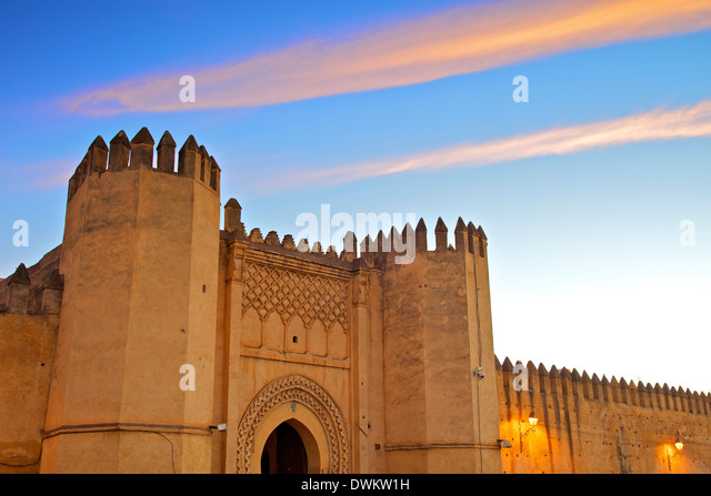 Place Bou Jeloud, Fez, Morocco, North Africa, Africa - Stock Image