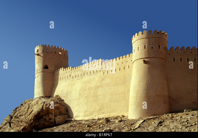 The Fortress of Nakhl, situated on a hill, Oman, Arabia, Arabic Peninsula, Middle Asia, Asia - Stock Image