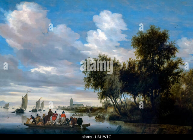 River Landscape with Ferry, by Salomon van Ruysdael, 1649, oil on panel, Rijksmuseum, Amsterdam, Netherlands, Europe, - Stock Image