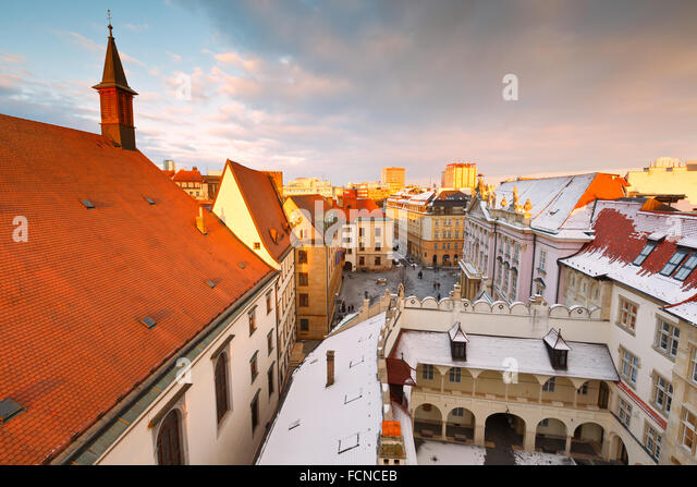 View of the old town from the tower of the city hall, Bratislava, Slovakia. - Stock Image