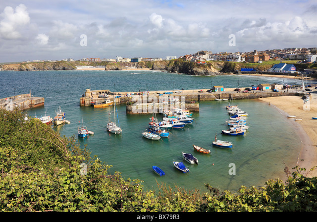 Newquay Harbour on Cornwall's North Coast - Stock Image