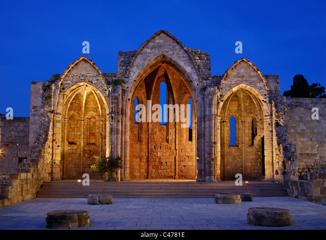 The remains of 'Panagia tou Bourgou' ('Our Lady of the Burgh') church in the Medieval town of Rhodes - Stock Image