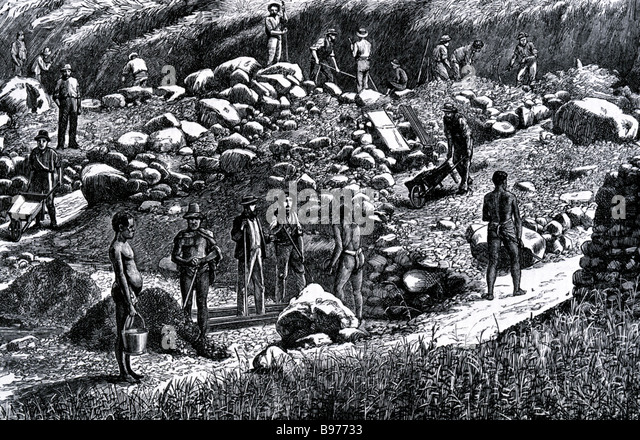 TRANSVAAL SOUTH AFRICAN GOLDFIELD workers about 1850 - Stock-Bilder