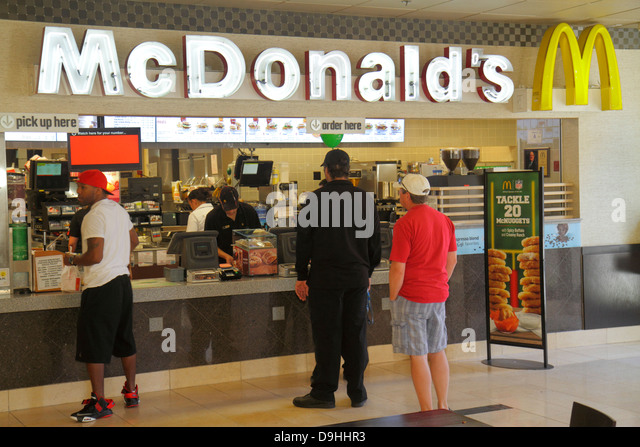Nevada Las Vegas Downtown Plaza Hotel & Casino hotel food court McDonald's fast food restaurant line queue - Stock Image