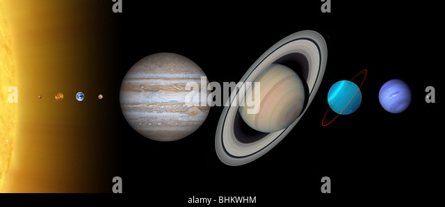 Planets and sun of our Solar System in relative size to each other. The sun is an illustration but planets are optical - Stock Image
