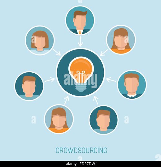 Crowdsourcing concept in flat style - abstract group of people participating in generating new ideas and solutions - Stock-Bilder