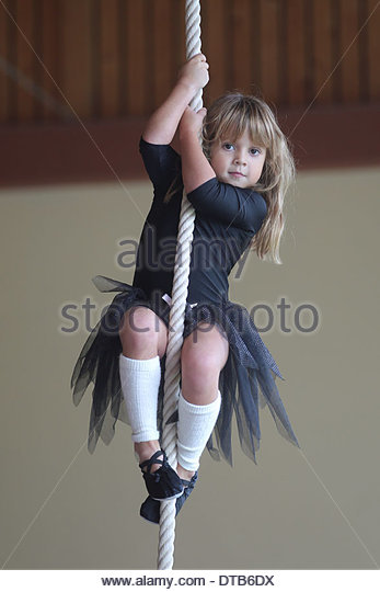 Lürschau, Germany, gymnastics movement in a kindergarten - Stock Image