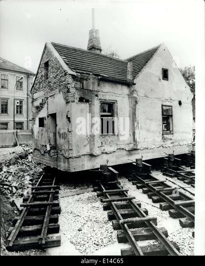 Apr. 17, 2012 - The transfer of an historical building: The railway station buildingof teh first horse drawn railway - Stock-Bilder