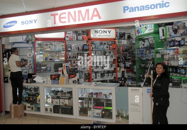 Panama Panama City Aeropuerto Tocumen airport PTY shopping terminal concession electronics shop brand Panasonic - Stock Image