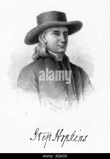 Engraved portrait of Stephen Hopkins, signer of the Declaration of Independence who served four nonconsecutive terms - Stock Image