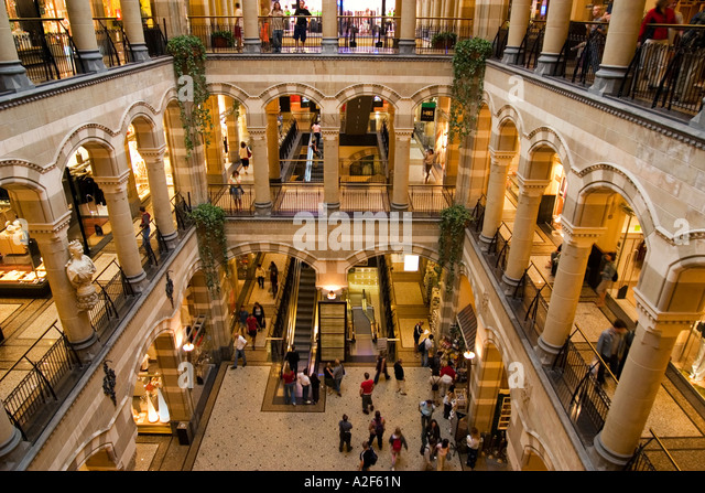 Amsterdam Magna Plaza shopping center Atrium - Stock Image