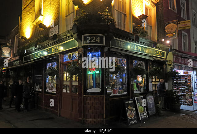 Camden Town at Night, North London, England, UK - The Elephants Head pub 224 - Stock Image