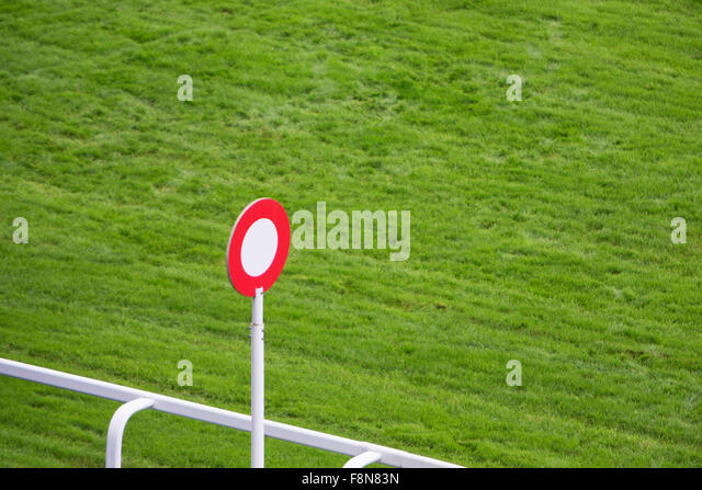 Finishing Post On Horse Racing Track - Stock Image