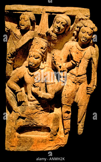 Krishna and Arjuna Deogarh style 5th 6 th cent AD India Indian Hindu - Stock Image