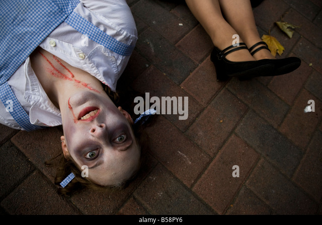On 25th anniversary of Jackson's Thriller video, Seattle Zombies gather in Occidental Park to host a Thriller - Stock Image