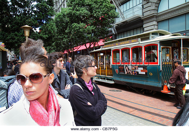 California San Francisco Powell Street Hallidie Plaza downtown street scene transit system historic cable car icon - Stock Image