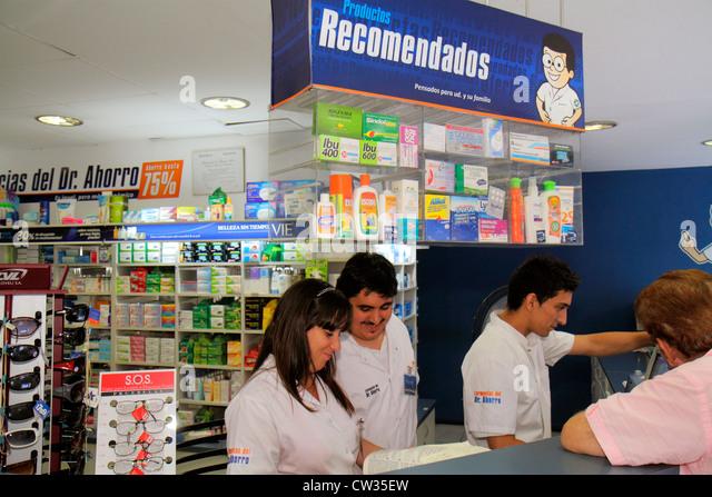 Buenos Aires Argentina Avenida de Mayo Farmacia del Dr. Ahorro discount pharmacy drug store medication medicine - Stock Image