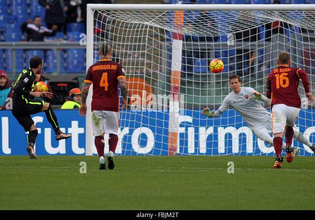 Rome, Italy. 17th Jan, 2016. Football/Soccer: ITALIAN LEAGUE SERIE A. 20° MATCH ROMA VEORNA in Olympic stadium - Stock-Bilder