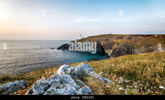 The lighthouse at Trevose Head on Cornwall's rugged north coast. - Stock Image
