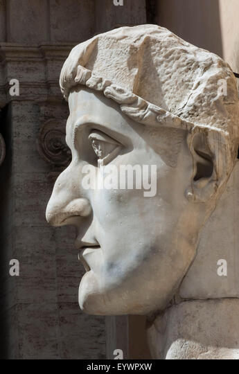 Head of Constantine 1, dated AD 4, Capitoline Museum, Ancient Rome, Rome, Lazio, Italy, Europe - Stock Image