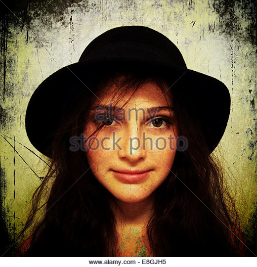 Portrait of girl wearing hat - Stock Image