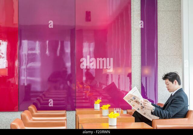 South Korea, Seoul, Gangnam Park Hyatt lobby - Stock Image