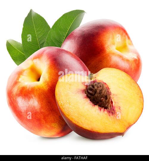 tasty nectarines isolated on the white background. - Stock Image
