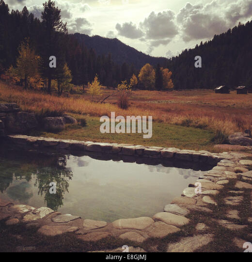 USA, California, Autumn landscape with pool and small cabins in distant - Stock Image