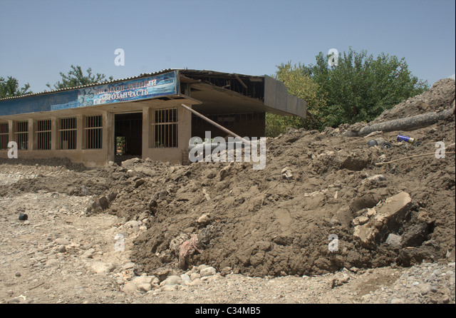 Tajik town Kulyab after disaster in May 2010. - Stock Image