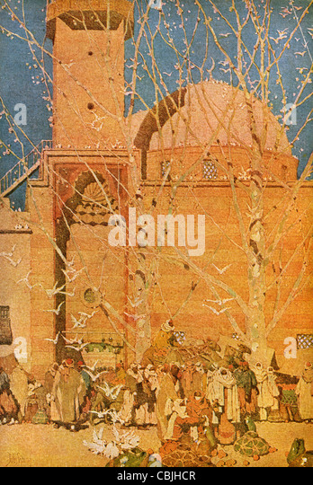 The Market Place, Damascus; a vintage 1914 printed color halftone reproduction of the Jules Guerin illustration. - Stock Image
